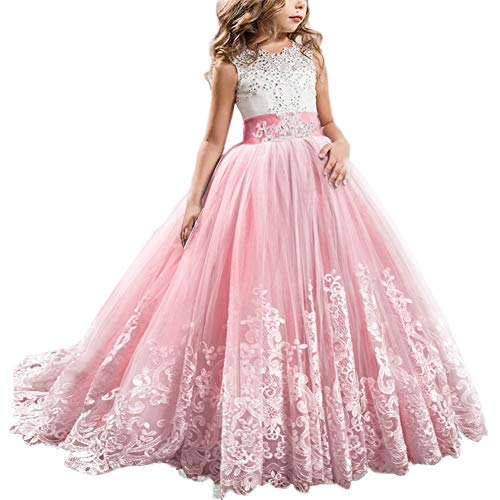 FYMNSI Flowers Girls Applique Tulle Lace Wedding Dress First Communion Birthday Christmas Prom Ball Gown Watermelon Pink 6-7T