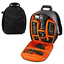 "YaeTek Camera Backpack DSLR SLR Camera Bag Video Padded Backpack Shoulder Bag Waterproof Case for Nikon,Canon, Sony 13"" X 10.3"" X 5"" / 33x26.5x12.5cm (Orange)"