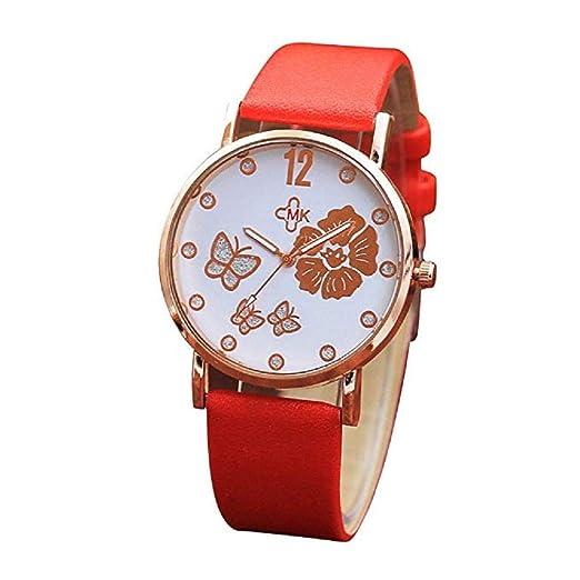 Clásicos Mujer Cuarzo Reloj,Scpink Elegante Y Mado con Flores Y PatrÓN de Mariposa Reloj con Dial Redondo Reloj Digital Correa de Cuero CÓModa (Rojo): ...