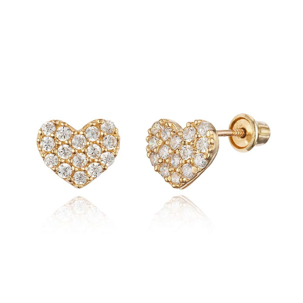 14k Yellow Gold Pave Heart Cubic Zirconia Children Screwback Baby Girls Earrings