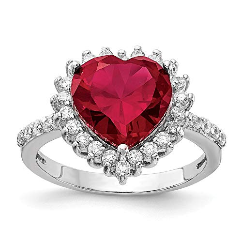 (925 Sterling Silver 100 Facet Created Red Ruby Cubic Zirconia Cz Heart Band Ring Size 7.00 S/love Gemstone Fine Jewelry Gifts For Women For Her)