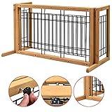Pet Gate Playpen Adjustable Indoor Solid Wood Construction Pet Fence Free Standing Log Color