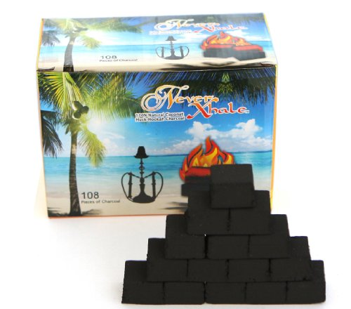 108 Pieces NeverXhale 100% Natural Coconut Charcoal for Hookah Shisha by NeverXhale
