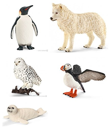 Schleich New Arctic/Antarctic Set of 5 Wildlife Figures: Snowy Owl, Seal Cub, Wolf, Puffin and Emperor Penguin Bagged Together, Ready to Give