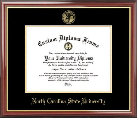Laminated Visuals North Carolina State University Wolfpack - Embossed Seal - Mahogany Gold Trim - Diploma - Carolina North Seal