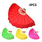 Chinese Dance Fan, Smartlife15 Plastic Frame Foldable Performances Belly Dance Hand Fan, Martial Arts Kung Fu Tai Chi Fan, Wedding Holiday Festival Party Gift Fan (4Colors)