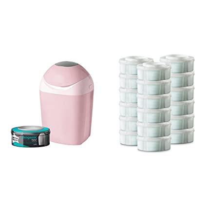 Pack Tommee Tippee Sangenic Tec - Contenedor de pañales Rosa + Pack 18 Recambios