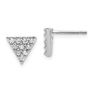 Image Unavailable. Image not available for. Color  Dainty Designs 14k White  Gold Triangle Earrings ... eb124a08d