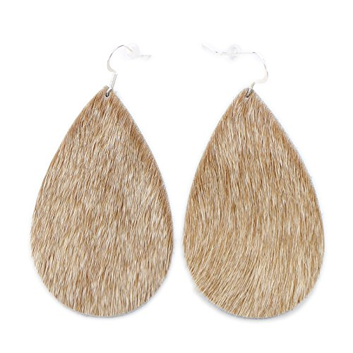 The Drop, Light Tan (Hair On), Leather Earring with Sterling Silver Hooks from OneWild, size large. Handmade in Denver, CO USA. $1 donation goes to women and girls programs, (Tan Tooled)