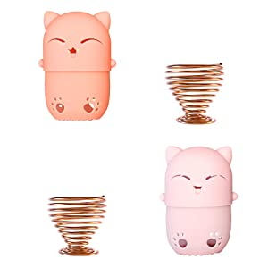 NaFurAhi Makeup Sponge Case, Cute Cat Shaped Containers, Silicon made Perfect for Traveling, Keep Makeup Sponges in a Safe &Sanitary, with 2 Fashion Hair Clips &2 Sponge Holders (Pink+Orange)