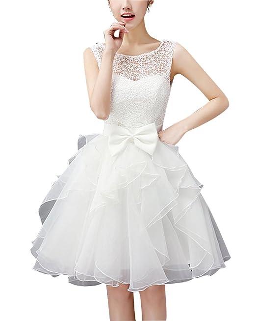 Vestido Corto para Mujer De Fiesta Floral con Arco Cintura De Novia Coctel Vestido Blanco L