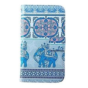 WQQ caso de cuero elefantes patrón pu con ranura para tarjeta para la galaxia de Samsung i9600 s5