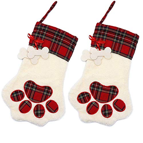 (Alasida 2 Pieces Christmas Stockings Pet Paw Pattern Stockings Fireplace Hanging Stockings Pet Christmas Decoration,18 x 11 Inch)