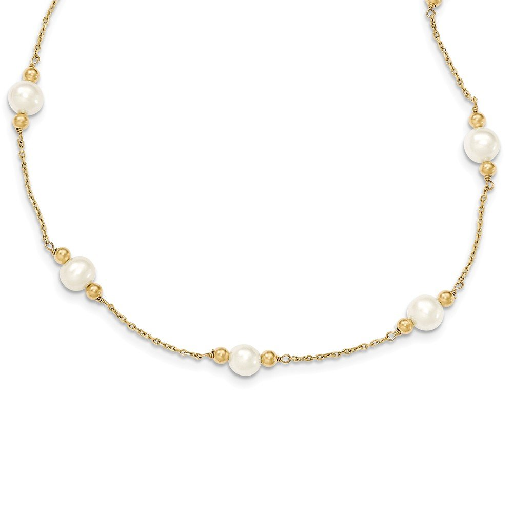 14k Yellow Gold 6mm White Near Round Freshwater Cultured Pearl Bead 12 Station Chain Necklace Pendant Charm Fine Jewelry Gifts For Women For Her