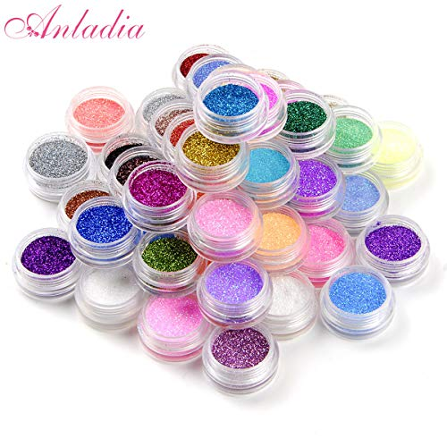 Anladia 45 Colors Eyeshadow Makeup Nail Art Pigment Glitter Dust Powder Set