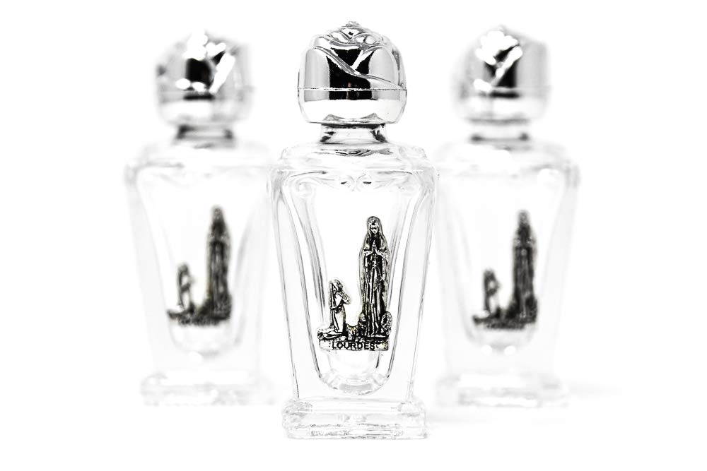 3 glass Lourdes bottles with silver plaque filled with Lourdes holy water