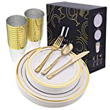 150 Pieces Gold Disposable Dinnerware Set - 50 Gold Disposable Plates, Gold Rimmed Plastic Dinner Plates - 25 Gold Plastic Silverware Cutlery - 25 Gold Plastic Cups for 25 Guests