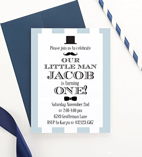 Little Man Birthday Invitations, Little Man Birthday Party, Little Man Birthday Invite, Little Gentleman Birthday Invite, Little Man Birthday, Your choice of Quantity and Envelope Color -