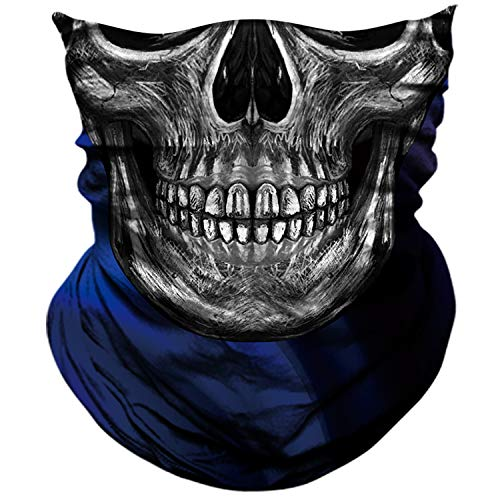 AXBXCX 3D Skull Skeleton Neck Gaiter Face Mask for Motorbike Motorcycle Cycling Riding Hiking Hunting Fishing Skateboard Powersports Cosplay Halloween Party Music Festivals Raves Tube Face Mask 086