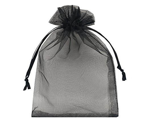 Sanrich Sheer Organza Bags 60pcs Favor Gift Bag Drawstring Mesh Bags Business Packages (4x6, - Black Mesh Material