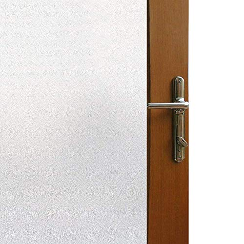Vakker Bahay Vinyl Self Adhesive Waterproof Window Film Clear White Frosted Glass Film Front Sliding Door Privacy Glass Window Cling Film,17.7 x 78.7 Inches(45CM by 200CM) - Door Window Glass Front