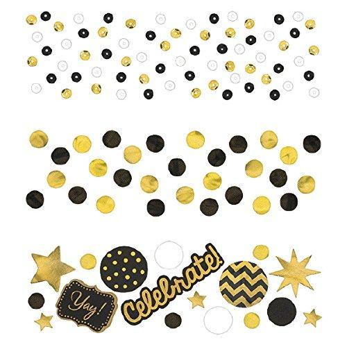 Value Pack Confetti | Black and Gold | 1.2 oz | Party Decor