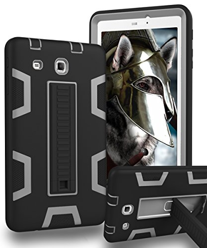 KAKA Galaxy Tab E 8.0 Case, [Kickstand Features][Shock Absorption] Three-Layer Heavy Duty Rugged Armor High Impact Resistant Bumper Protective Case Cover for Galaxy Tab E 8.0,Black/Grey