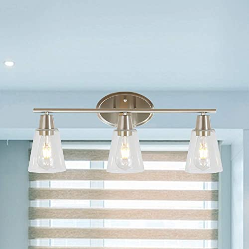 BONLICHT 3 Lights Bathroom Vanity Light Fixture Brushed Nickel Sconces Wall Lighting Contemporary Interior Wall Lamp with Clear Glass Shade,Modern Wall Light for Kitchen Bathroom Bedroom Living Room