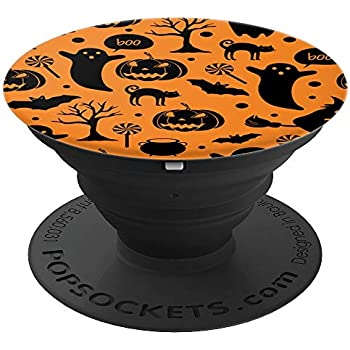 Halloween Pumpkin Ghost Black Cat Bat Orange Popsockets Grip And Stand For Phones And Tablets