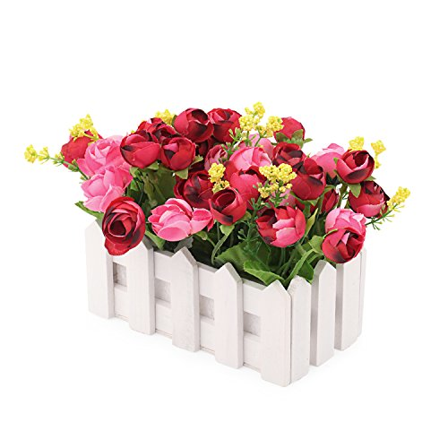 Louis Garden Artificial Flowers Fake Rose in Picket Fence Pot Pack - Mini Potted Plant (Red)