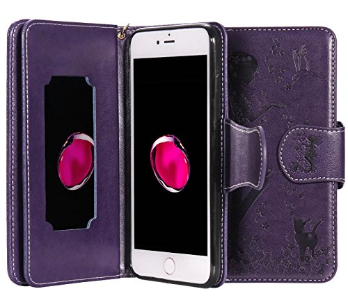 iPhone 8 Plus Wallet Case, iPhone 7 Plus Wallet Case, Welity [9 Card Slots Wallet + Makeup Mirror + Wrist Strap] Fairy Girl Floral PU Leather Flip Case for Apple iPhone 7/8 Plus 5.5-inch, Purple