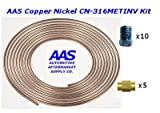 "AAS Copper Nickel Tubing CN-316 3/16"" x 25' Brake Line with 15 Metric Inverted Flare Fittings"