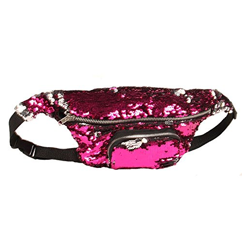 (Liraly Travel Backpack, Fashion Unisex Bag Travel Handy Hiking Sport Fanny Pack Waist Belt Zip PoucUnisex Outdoor Sports Casual Double Color Sequins Unisex Waist Pack (C))