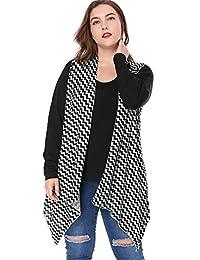 Agnes Orinda Women's Zig-zag Pattern Asymmetric Hem Knit Sleeveless Cardigan