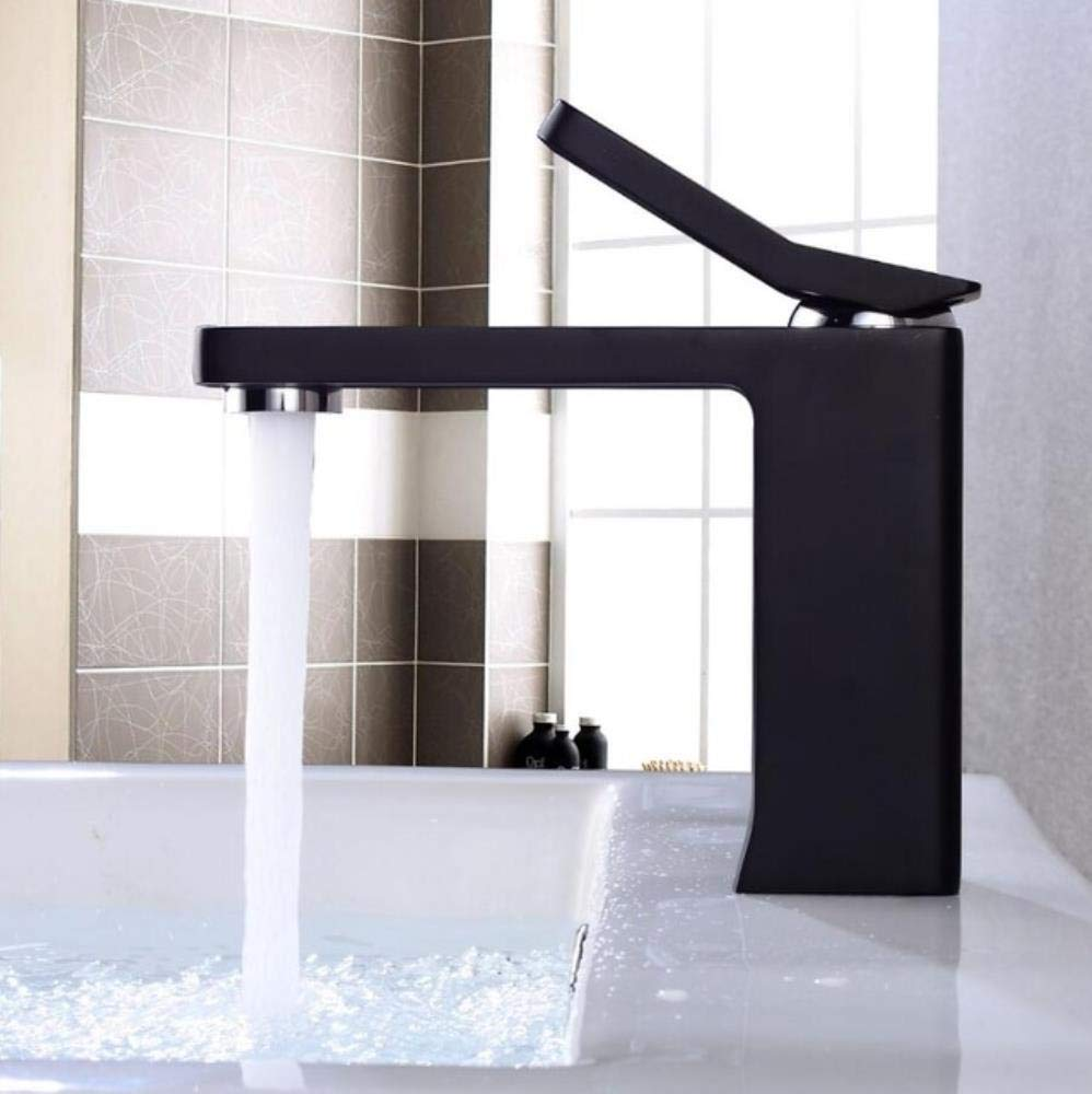 Black Short Kai&Guo Basin Faucet White Black Tall Basin Mixer Brass Crane Bathroom Faucets Hot & Cold Water Tap Contemporary Mixer Tap torneira,white short