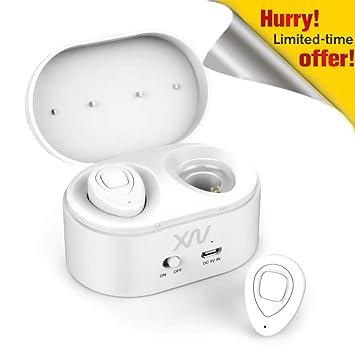 Auriculares Bluetooth, XIAOWU Bluetooth V4.1 Auriculares Inalambricos Dual con micrófono Incorporado y Caso de Carga Cancelación de Ruido Mini Auricular ...