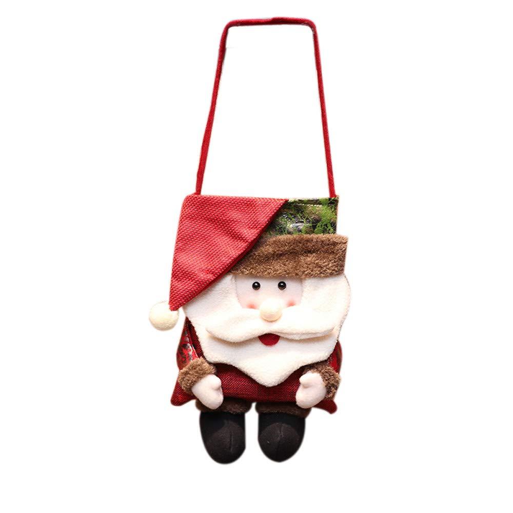 Ximandi Clearance, Santa Claus Snowman Bear Xmas Candy Bag Velvet Pouch (White)