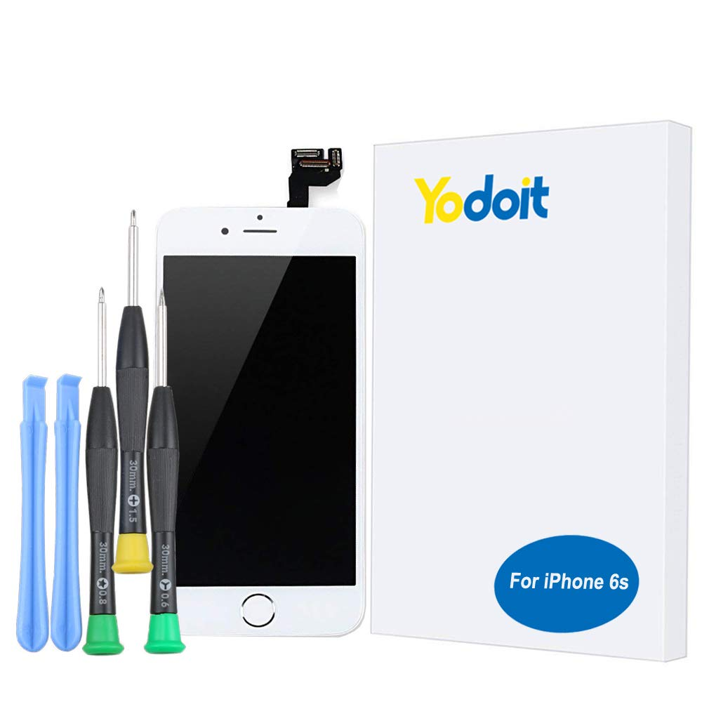 Yodoit for iPhone 6s LCD Display and Digitizer Assembly Glass Touch Screen Replacement with Frame Spare Parts (Front Camera, Proximity Cable, Home Button, Earpiece Speaker)+ Tool (4.7 inches White) AIP6SBH
