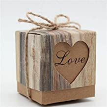 Wispun 10pcs/50pcs Romantic Vintage Heart Kraft Paper Candy Box With Burlap Twine Wedding Favors and Gifts Bag Party Wedding Birthday Decoration (50)