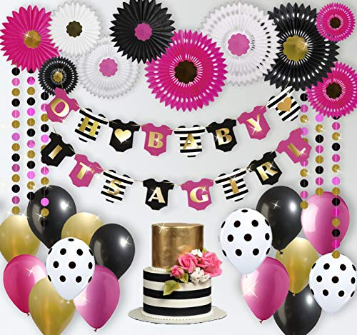 (RainMeadow Premium Baby Shower Decorations for Girl Kit | Baby Girl Shower Decorations | Hot Pink Black Gold Balloons | It's A Girl Banner | Tissue Paper Fans | Kate)
