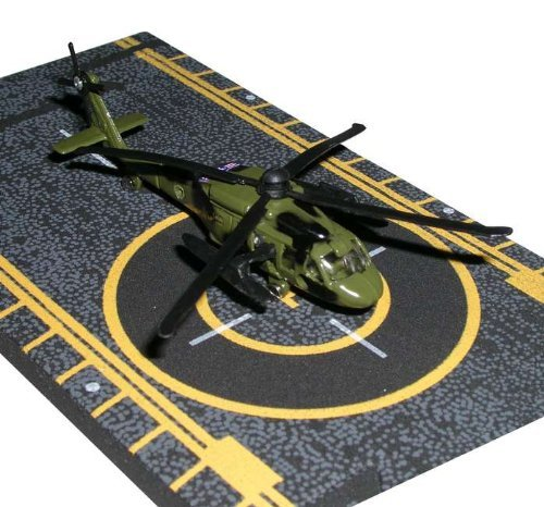 Hot Wings Black Hawk Helicopter with Connectible Runway Die Cast Plane Model Airplane, (Hot Wings Diecast Toy Airplane)
