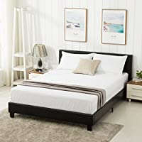 Mecor Bonded Leather Bed Frame Upholstered Platform Bed Black (Queen)