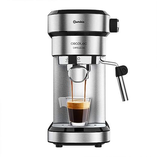 Cecotec Cafetera Express Cafelizzia 790 Steel para espressos y cappuccinos, Brazo portafiltros con Doble Salida y Dos filtros, 20 Bares de Presión, ...