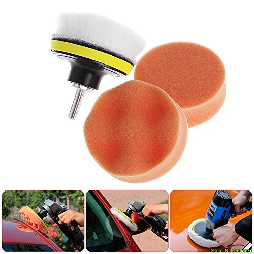 Drill Polish - 5pcs 3 Inch 4inch 5inch M10 Sponge Waxing Buffing Polishing Pad Kit With Drill Adapter