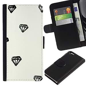 WINCASE (No Para IPHONE 6 PLUS) Cuadro Funda Voltear Cuero Ranura Tarjetas TPU Carcasas Protectora Cover Case Para Apple Iphone 6 - diamante dibujo acuarela minimalista