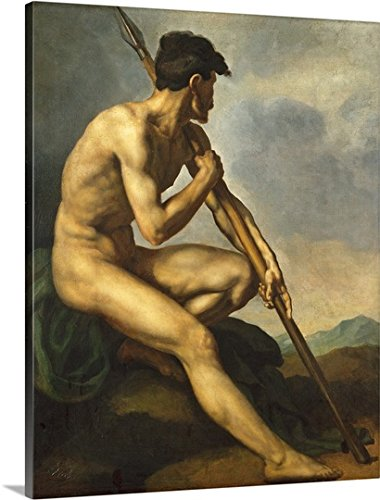 Theodore Gericault Premium Thick-Wrap Canvas Wall Art Print entitled Nude Warrior with a Spear, c.1816