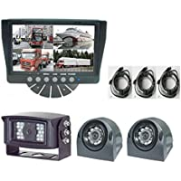 QUAD Rear View Backup System includes 7 QUAD Digital Flat Screen Color LCD Monitor and Three CCD Color Wide View Cameras, Three free 4-Pin Weather/water proof Extended Cables. by YanTech USA