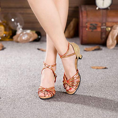 FidgetFidget Women Dancing Sandals Open Toe Ballroom Dance Party Latin Shoes HeelBlack-redUS5.5=EU36