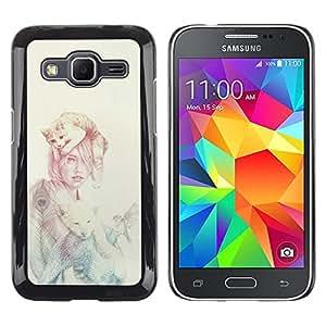 LECELL--Funda protectora / Cubierta / Piel For Samsung Galaxy Core Prime -- Mujer Gato --