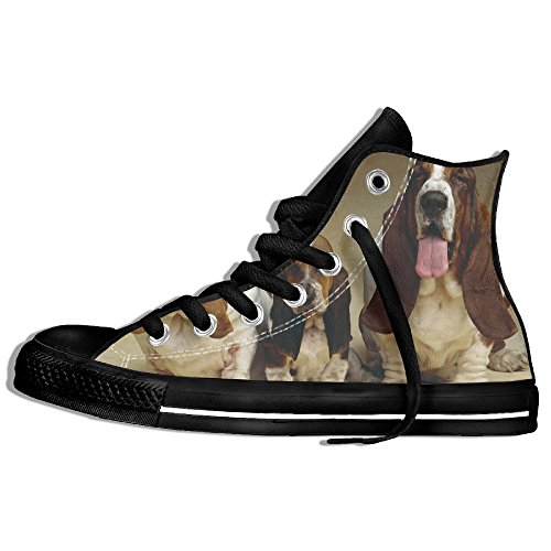 Classic High Top Sneakers Canvas Zapatos Antideslizante Basset Hound Casual Walking Para Hombres Mujeres Negro